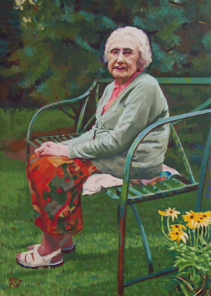oil painted portrait of enid by alan dedman