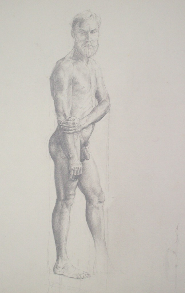 drawing of male nude by alan dedman