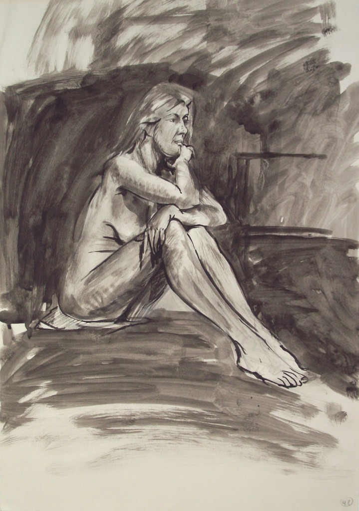 pen and ink study of the nude by alan dedman