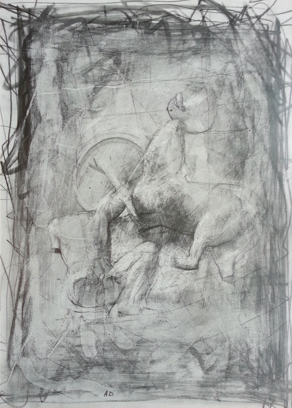 drawing of lapith & centaur by alan dedman