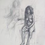 pencil drawing of female nude by alan dedman