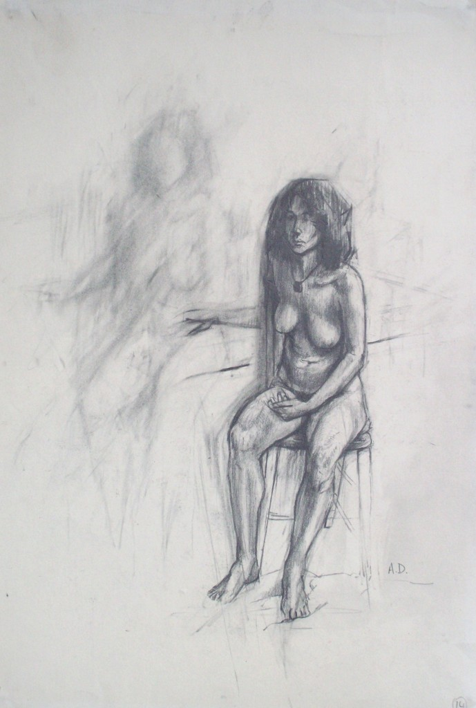 pencil drawing of female nude by alan dedman