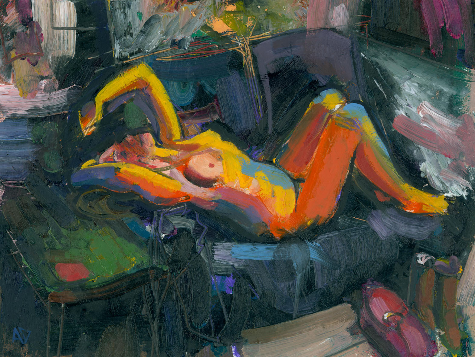 oil painting of reclining female nude by alan dedman