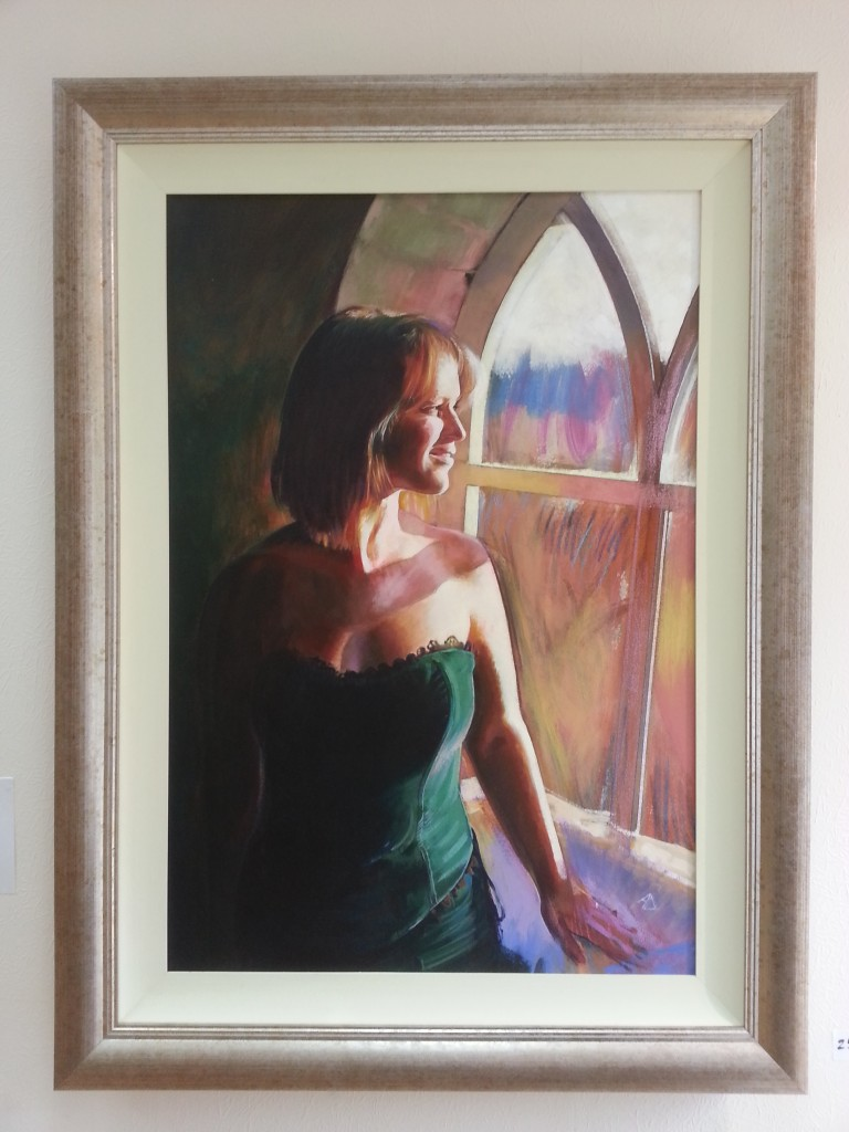 catalogue painting of a young woman by alan dedman in acrylic