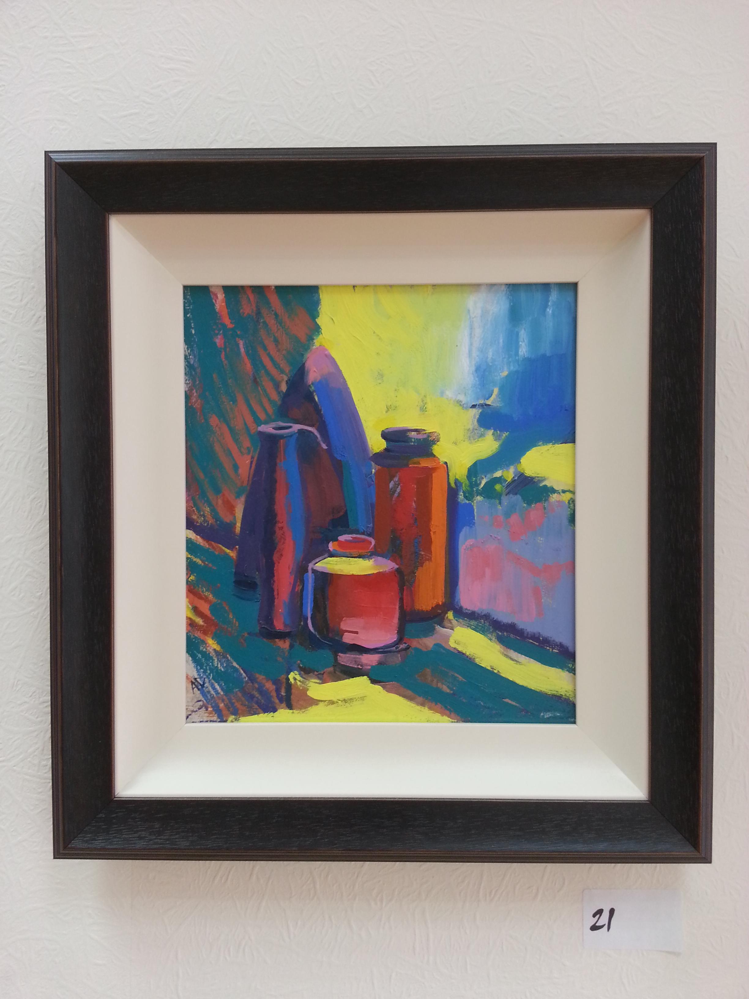 oil on board painting of a still life by alan dedman