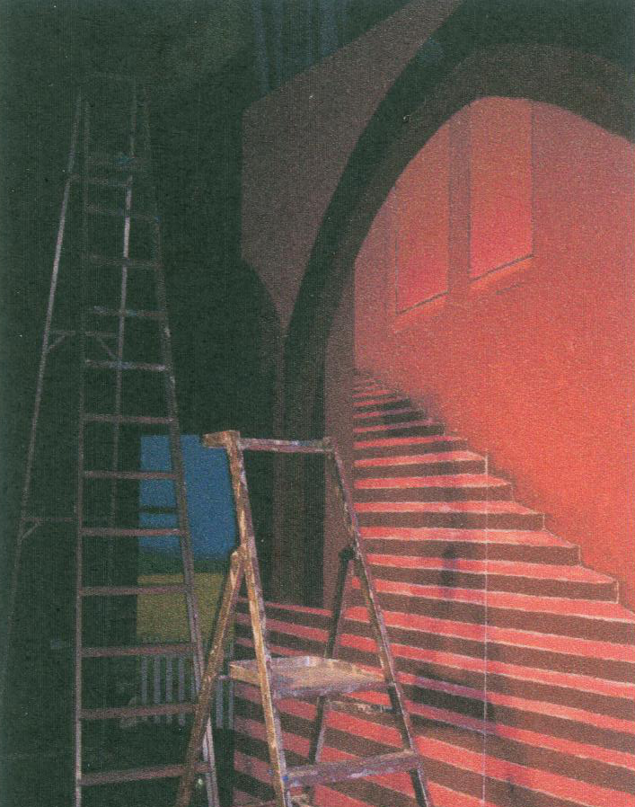 Pic of scenic painting of Darryl Van Horne's house being done by alan dedman