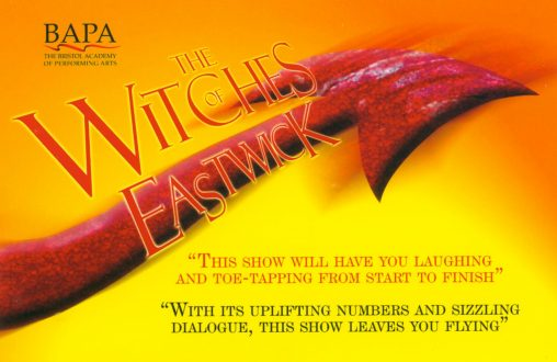 Flyer for a musical production of the witches of eastwick scene painting by alan dedman