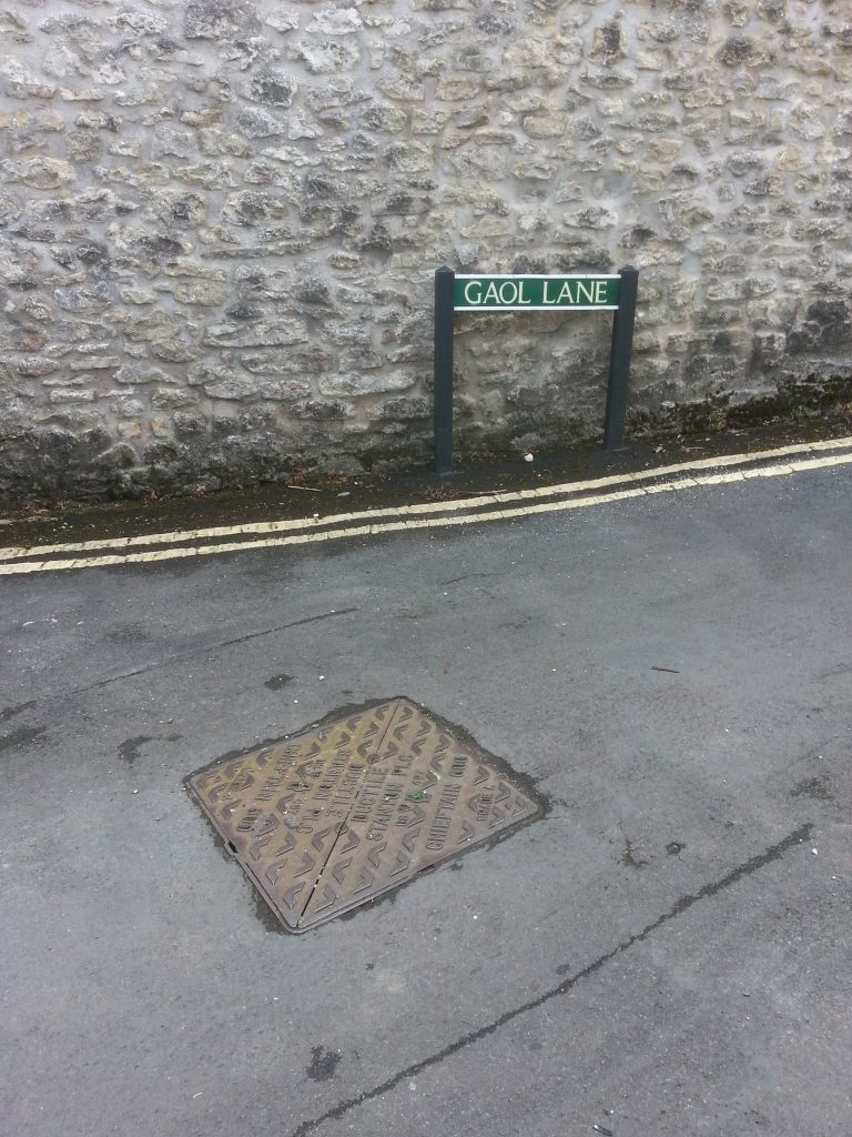 colour pic of sign for gaol lane, shepton mallet by alan dedman prison education