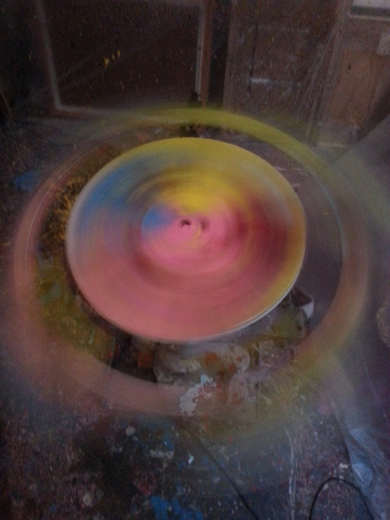 pic of spin painting in progress by alan dedman