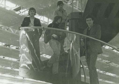 black & white photo of Norcat students