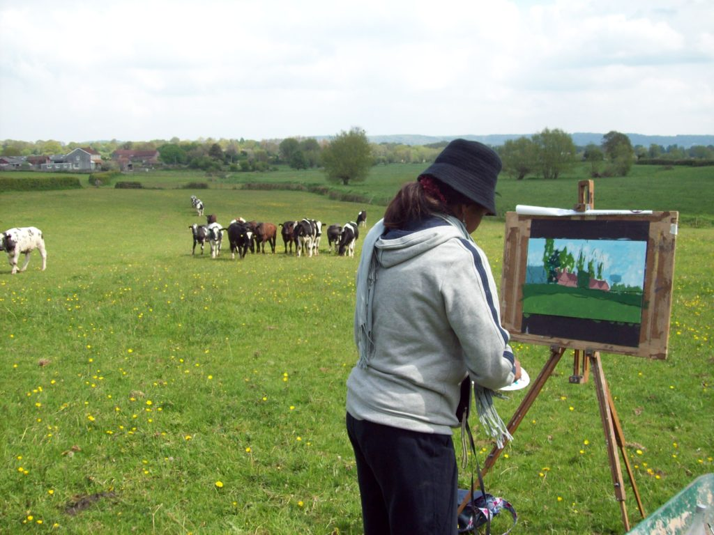 pic of nigerian female student landscape painting