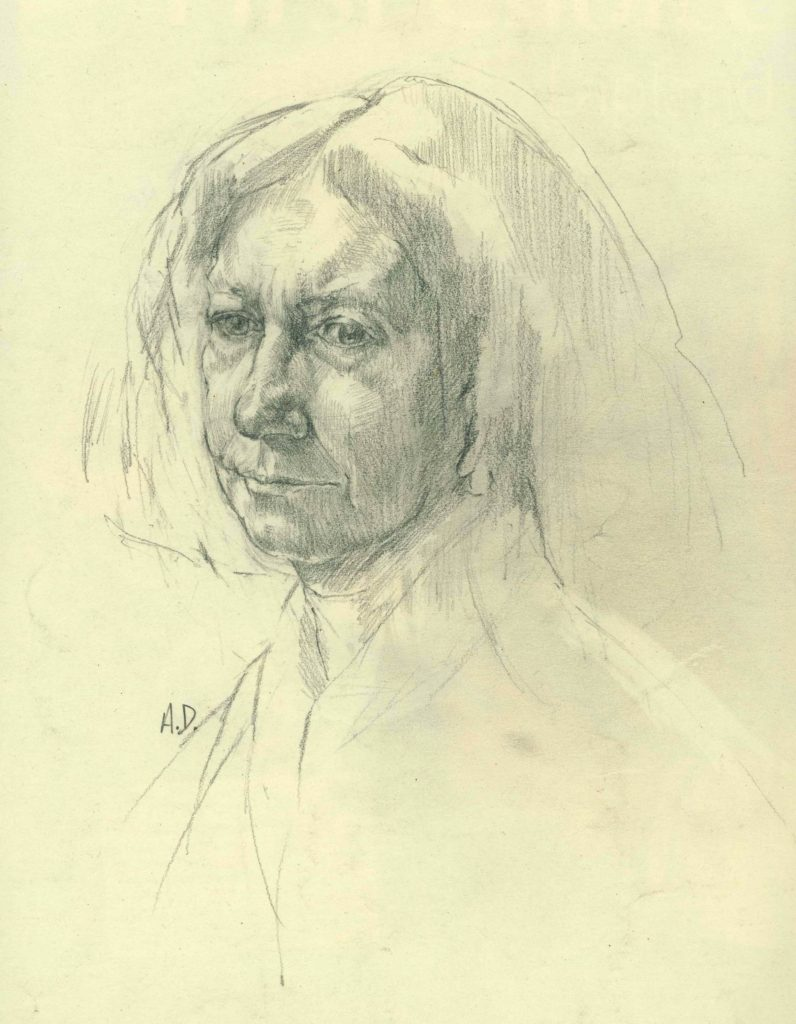 the royal academy schools by alan dedman drawing of woman called beryl