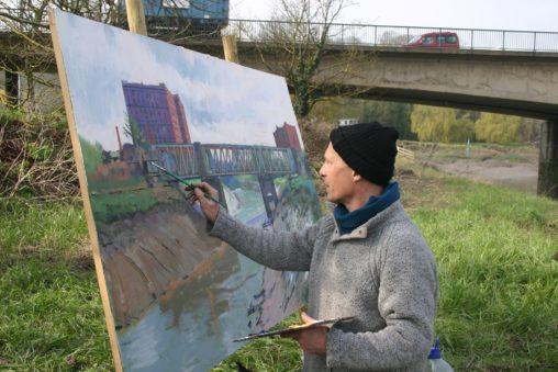 bristol cityscape by alan dedman painting artwork
