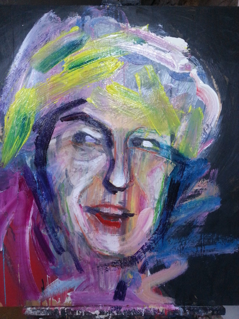 Theresa May by Alan Dedman painting in colour with mixed media on wood