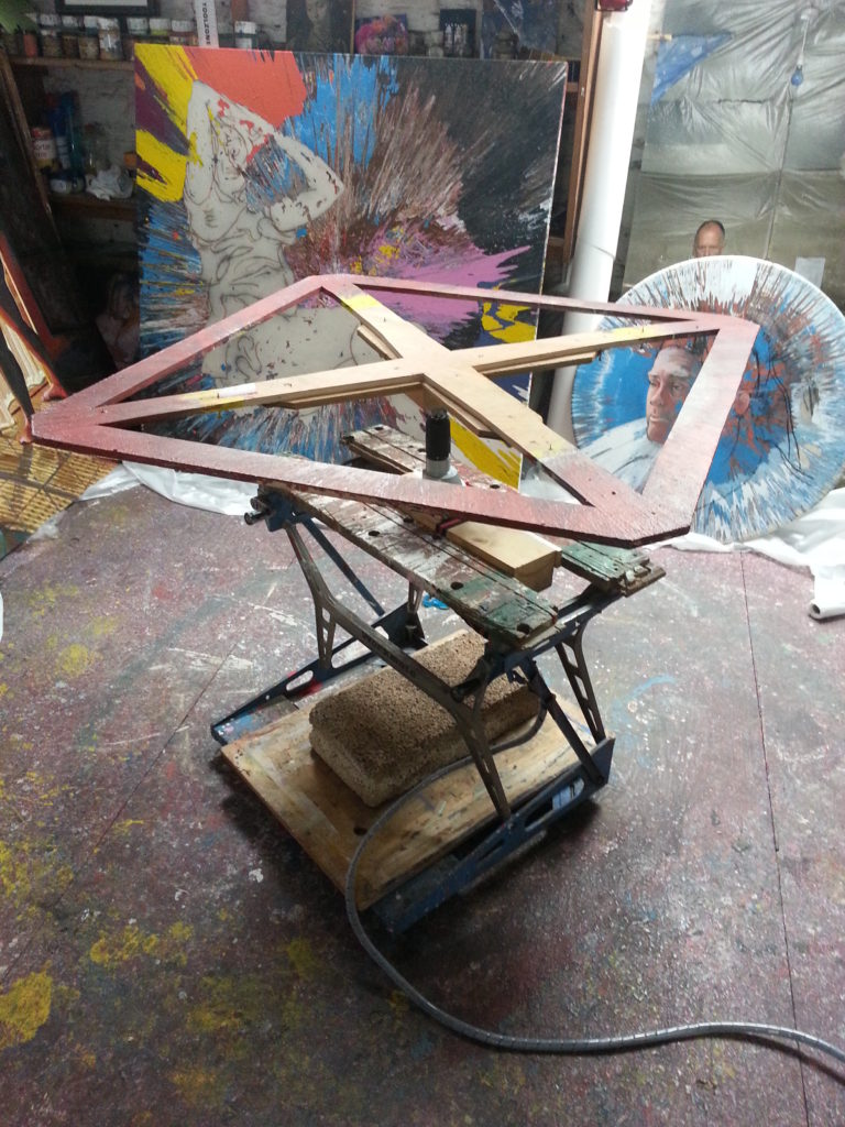 photo of spin painting machine alan dedman wanking machine