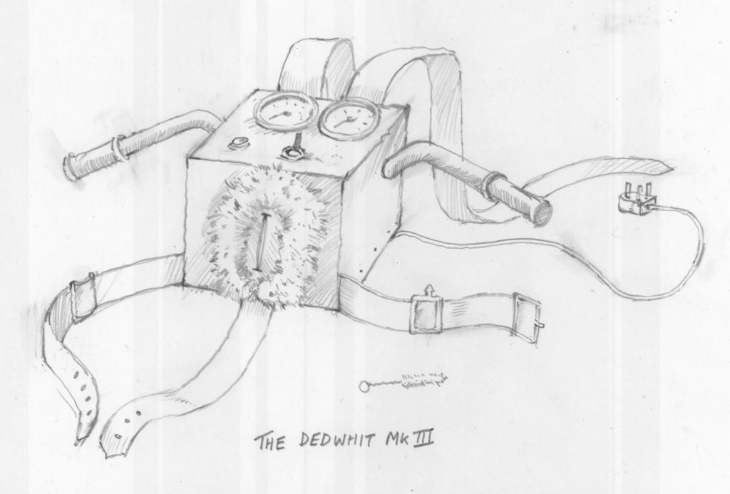 image of a drawing of the wanking machine alan dedman