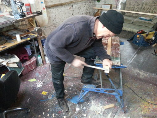 alan dedman doing carpentry in his studio thames tv