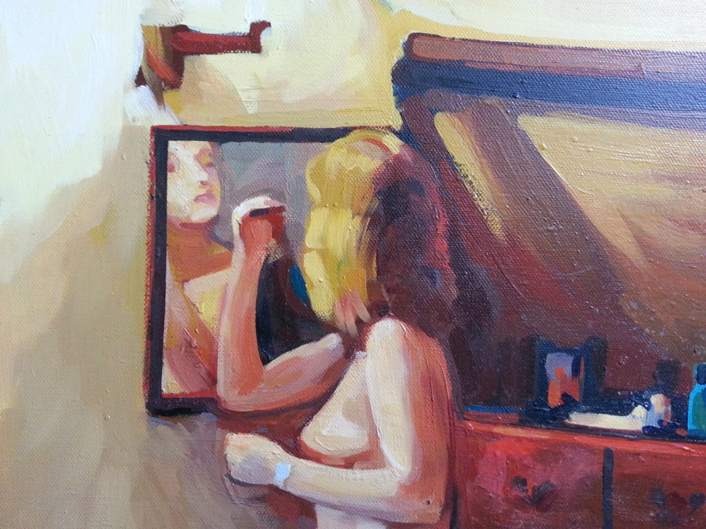 close up of painting nude portrait by alan dedman