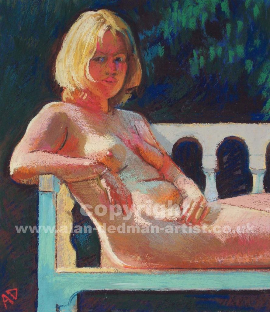 On the Bench pastel study nude portrait by alan dedman