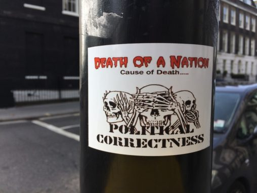 Death of a nation sticker on street lamp post in London