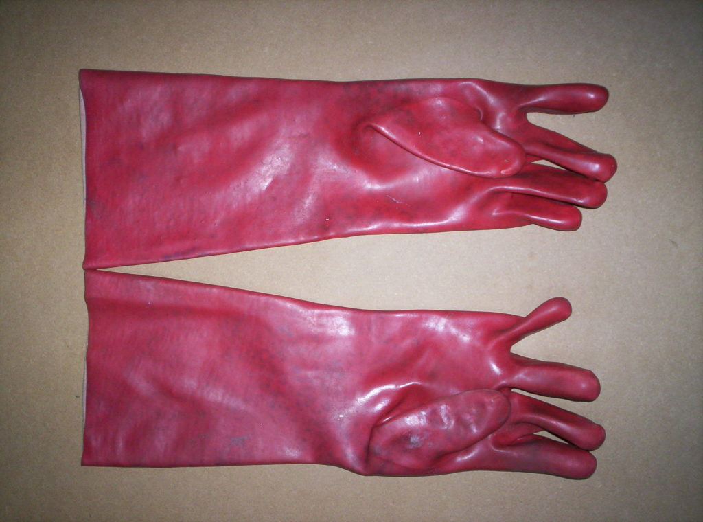 A picture of etching gauntlets as used by Jamie Wagg Alan Dedman