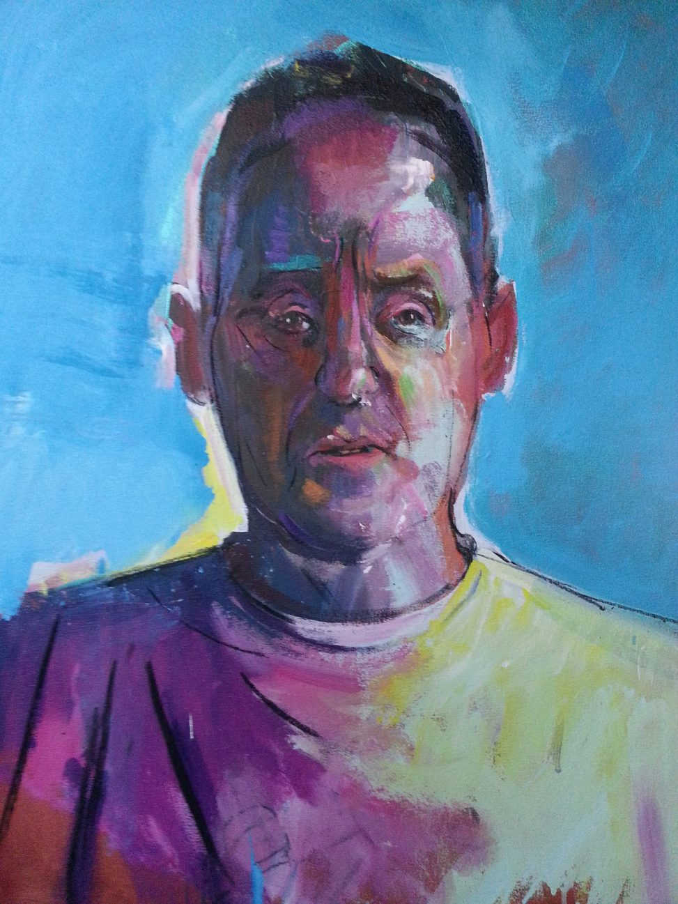 colourful portrait painting of Mike by Alan Dedman National Portrait Award