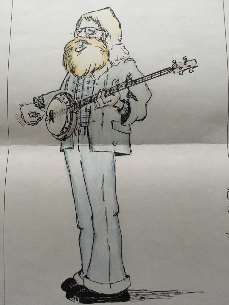 Derek Mace drawn by Robin Smith, cartoon by student at GYCAD