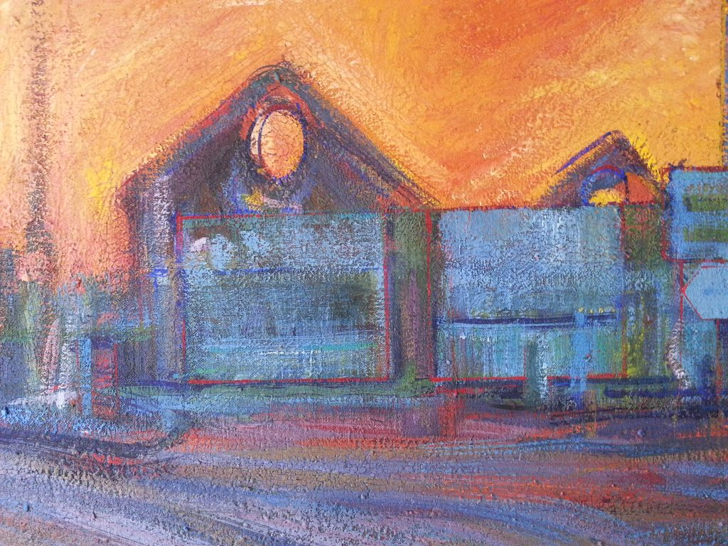 Hotwells Sunset by alan dedman painting in gouache colours