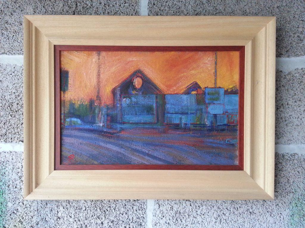 Framed artwork by alan dedman in gouache hotwells sunset