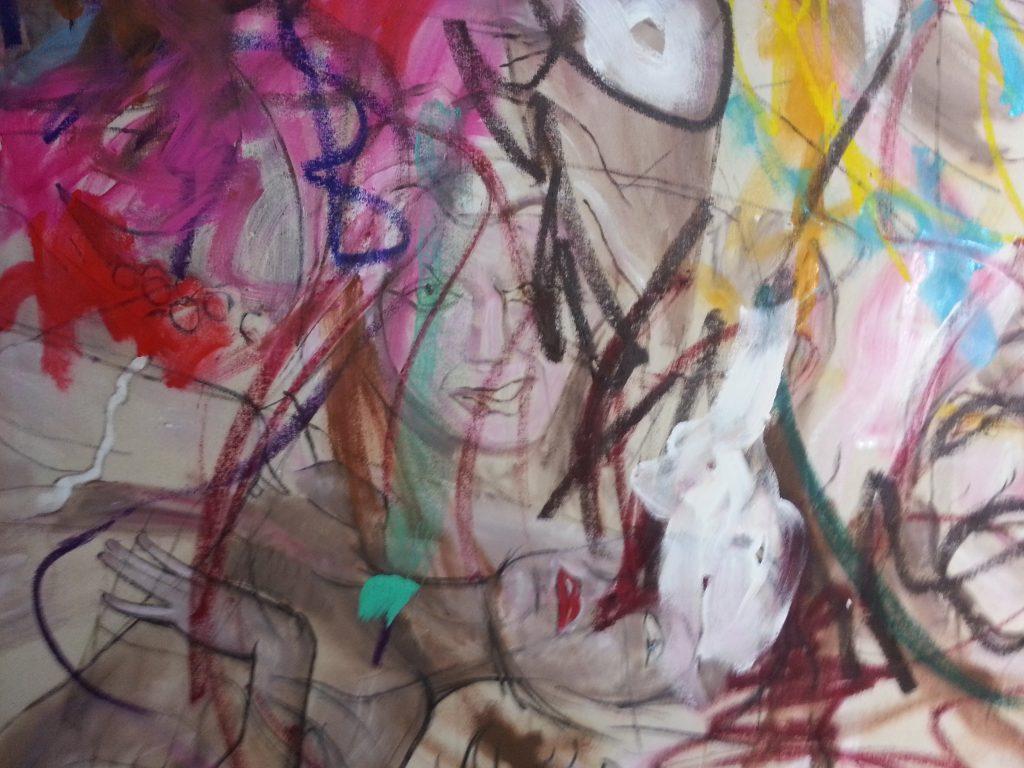 Detail showing faces in Les Demoiselles (de Barrow Gurney) by Alan Dedman