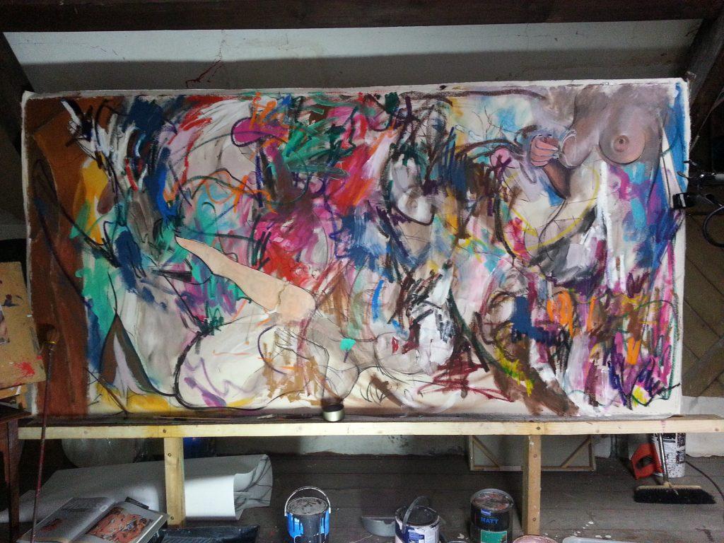 8x4ft painting by Alan Dedman Les Demoiselles