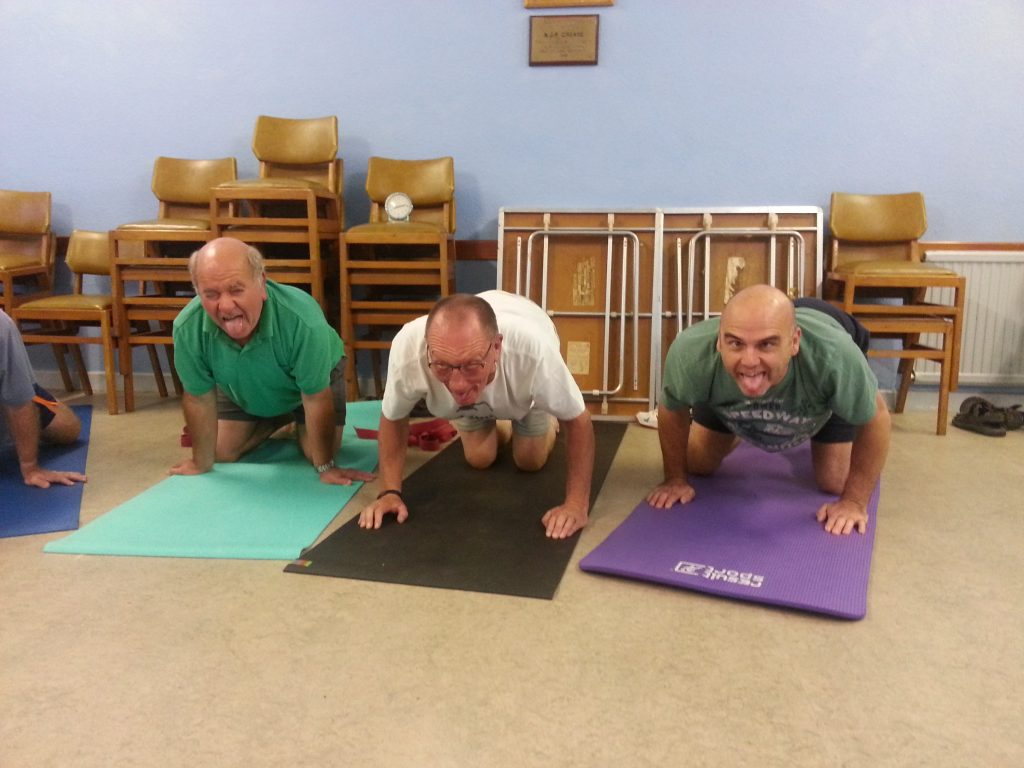 Yoga for Blokes men doing Simhasana colour pic Alan Dedman