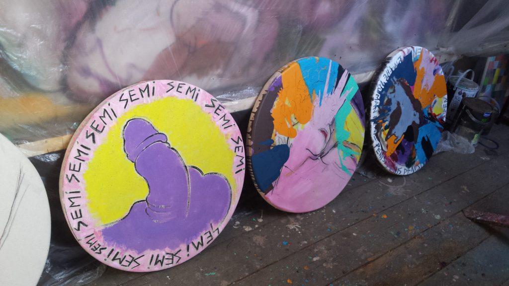 colourful circular spin paintings at studio dedman