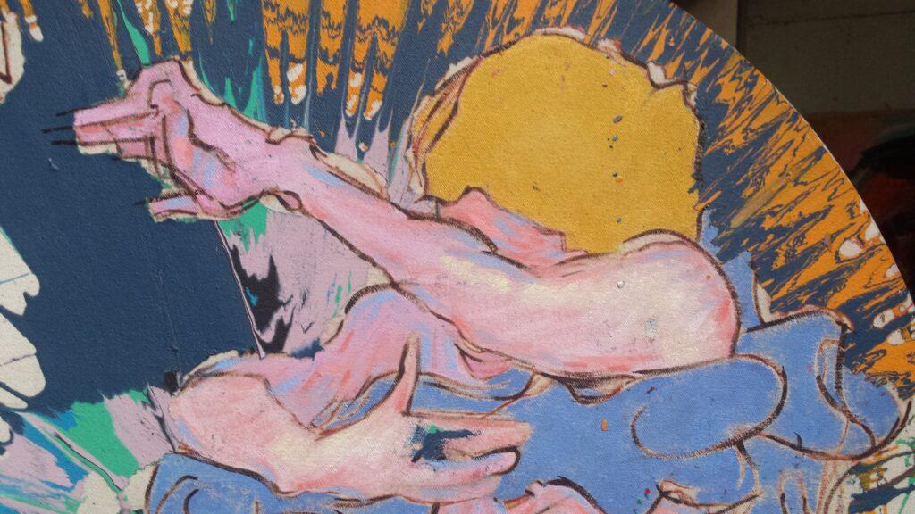 Gustav Klimt a go-go detail of spin painting by Alan Dedman