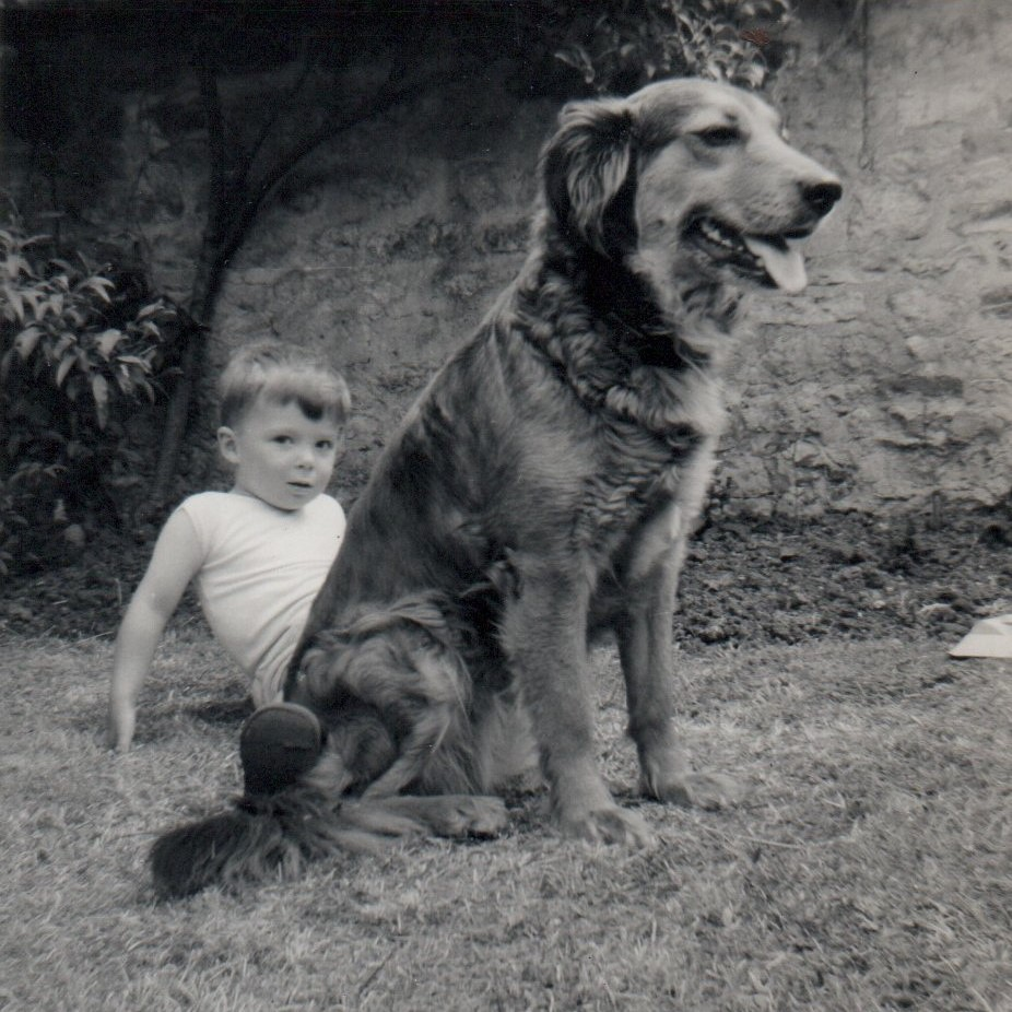 Sally our guard dog. Black & white Kodak Brownie pic from 1962