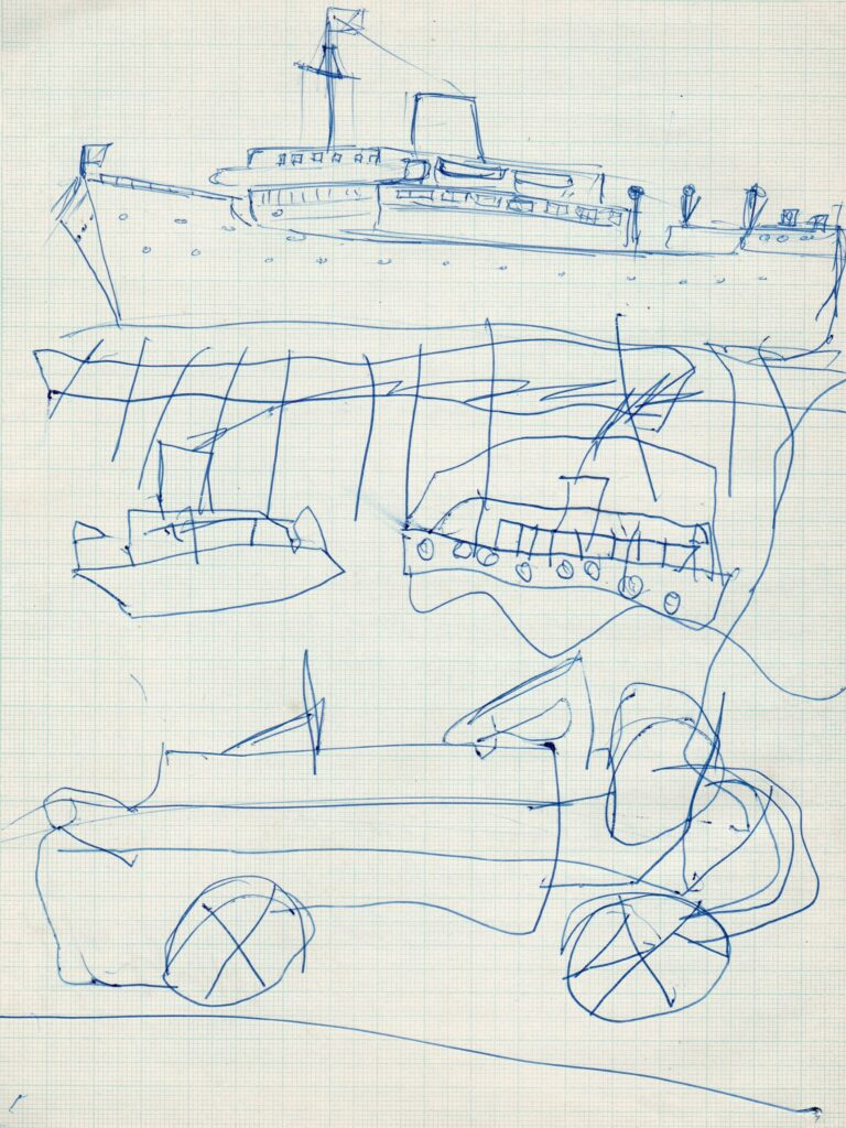 Page from Basil's Brighton Technical College exercise book showing drawing lesson for Alan