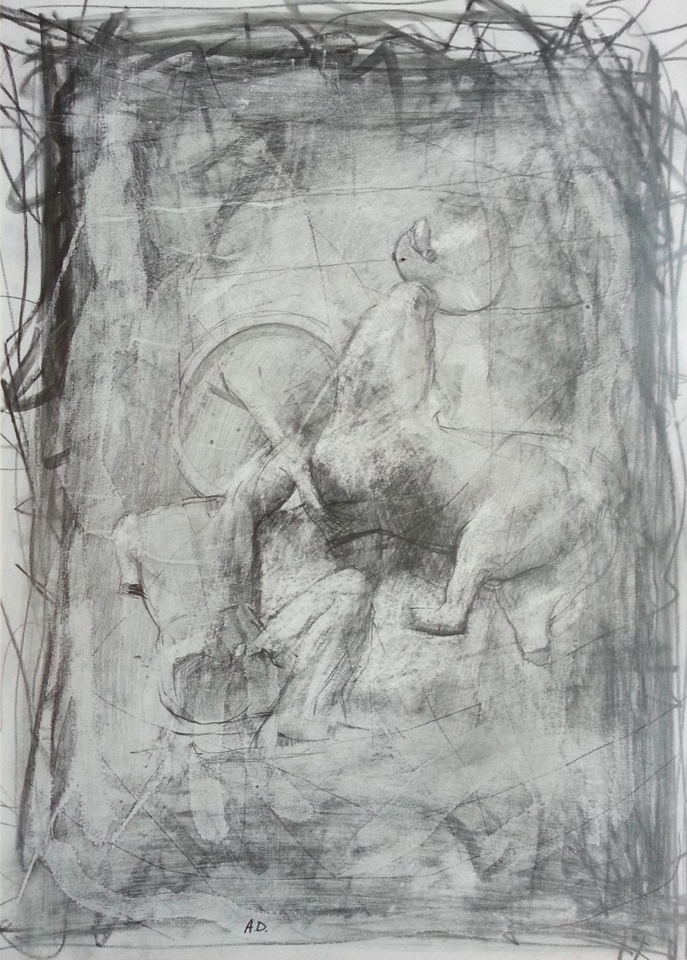 drawing of lapith & centaur by alan dedman