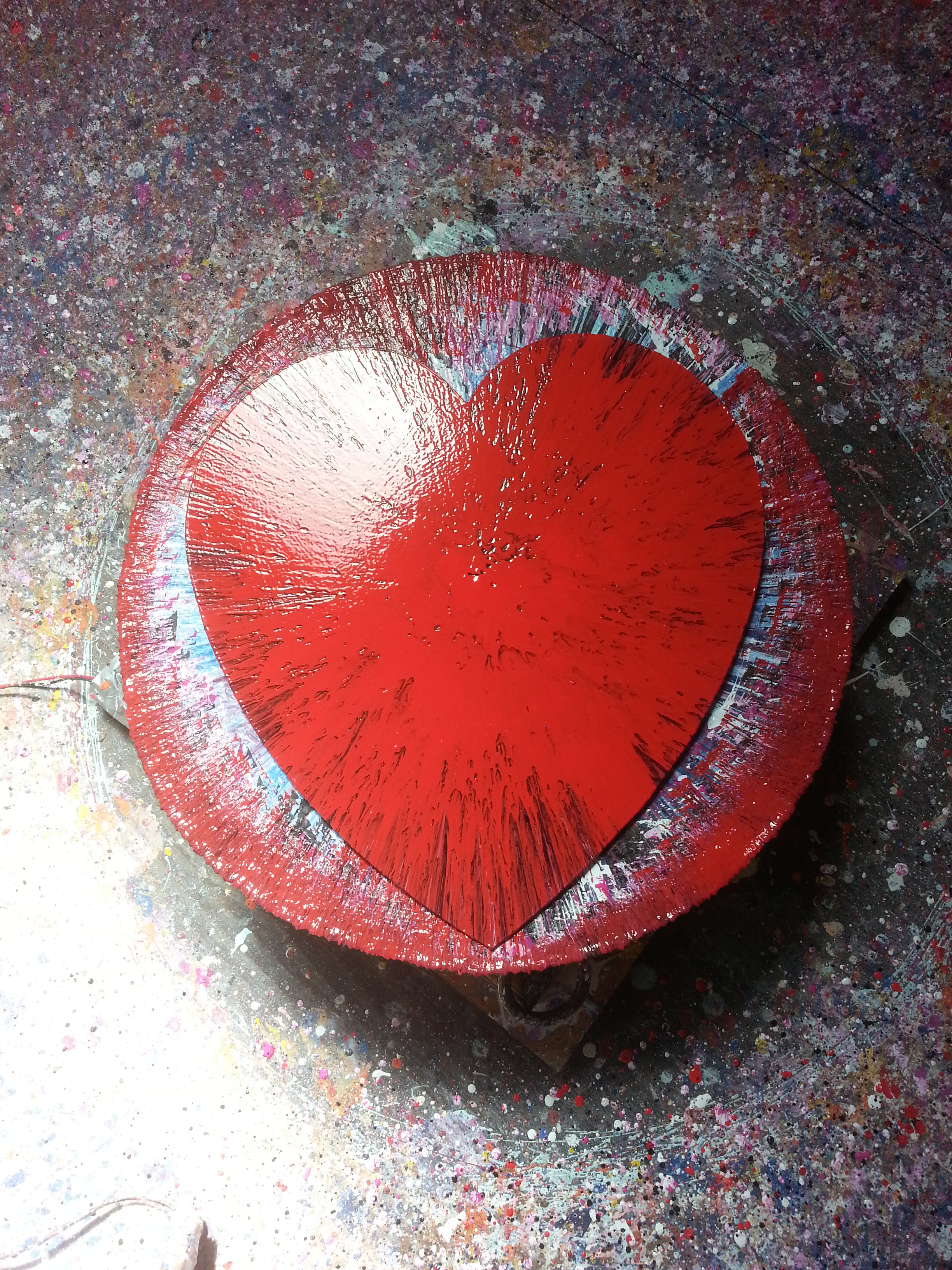 heart spin painting of color by alan dedman